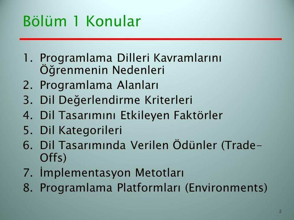 Bölüm 1 Konular 1.Programlama Dilleri Kavramlarını Öğrenmenin Nedenleri 2.Programlama Alanları 3.Dil Değerlendirme Kriterleri 4.Dil Tasarımını Etkiley
