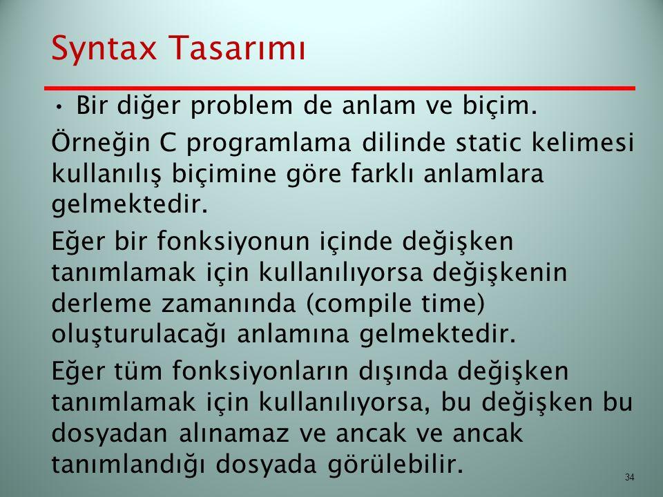 Syntax Tasarımı Bir diğer problem de anlam ve biçim. Örneğin C programlama dilinde static kelimesi kullanılış biçimine göre farklı anlamlara gelmekted