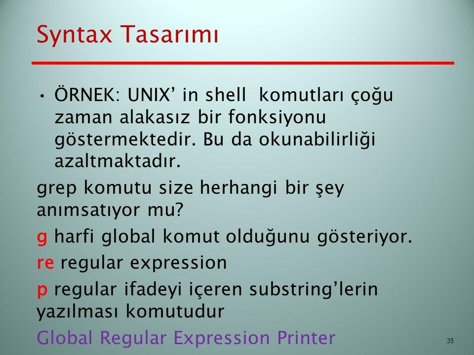 Syntax Tasarımı ÖRNEK: UNIX' in shell komutları çoğu zaman alakasız bir fonksiyonu göstermektedir. Bu da okunabilirliği azaltmaktadır. grep komutu siz