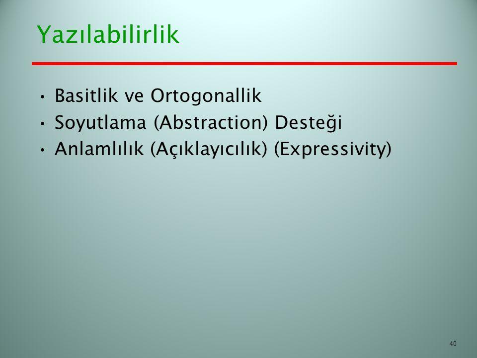 Yazılabilirlik Basitlik ve Ortogonallik Soyutlama (Abstraction) Desteği Anlamlılık (Açıklayıcılık) (Expressivity) 40