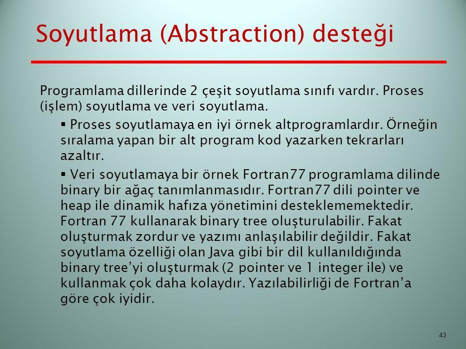 Soyutlama (Abstraction) desteği Programlama dillerinde 2 çeşit soyutlama sınıfı vardır. Proses (işlem) soyutlama ve veri soyutlama.  Proses soyutlama