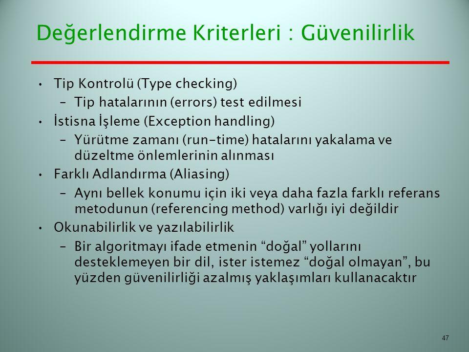 Tip Kontrolü (Type checking) –Tip hatalarının (errors) test edilmesi İstisna İşleme (Exception handling) –Yürütme zamanı (run-time) hatalarını yakalam