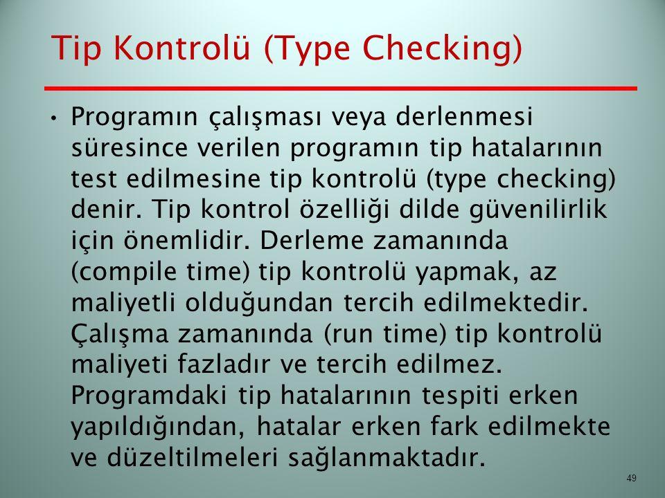 Tip Kontrolü (Type Checking) Programın çalışması veya derlenmesi süresince verilen programın tip hatalarının test edilmesine tip kontrolü (type checki