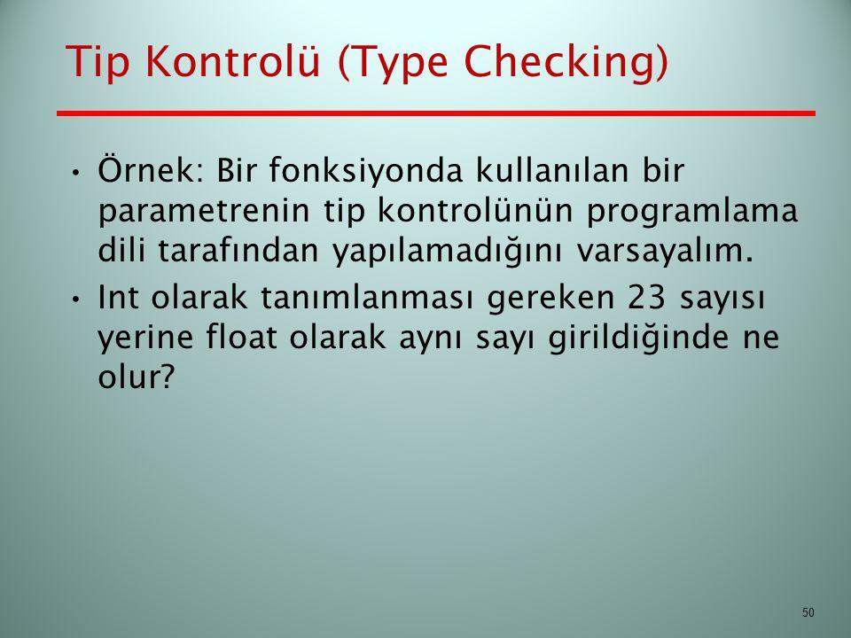 Tip Kontrolü (Type Checking) Örnek: Bir fonksiyonda kullanılan bir parametrenin tip kontrolünün programlama dili tarafından yapılamadığını varsayalım.