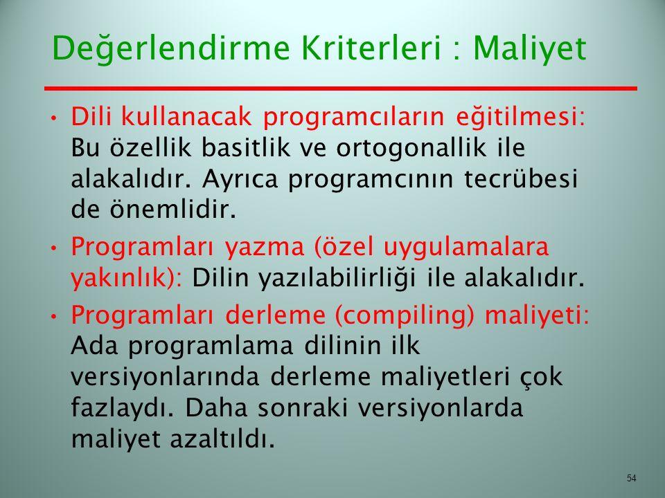 Değerlendirme Kriterleri : Maliyet Dili kullanacak programcıların eğitilmesi: Bu özellik basitlik ve ortogonallik ile alakalıdır. Ayrıca programcının