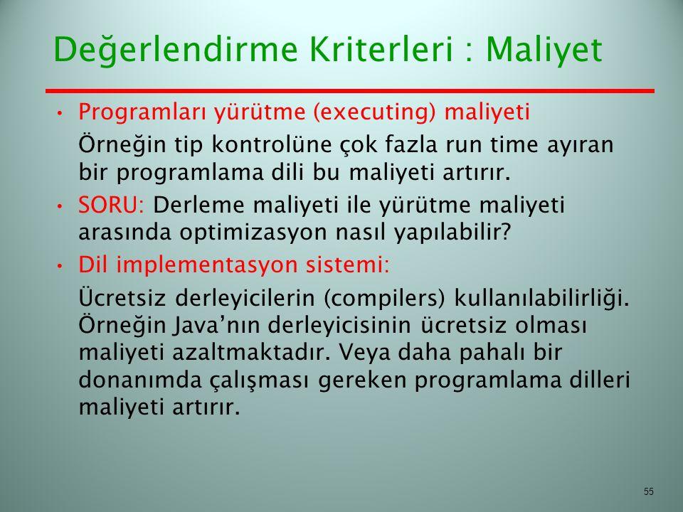 Değerlendirme Kriterleri : Maliyet Programları yürütme (executing) maliyeti Örneğin tip kontrolüne çok fazla run time ayıran bir programlama dili bu m