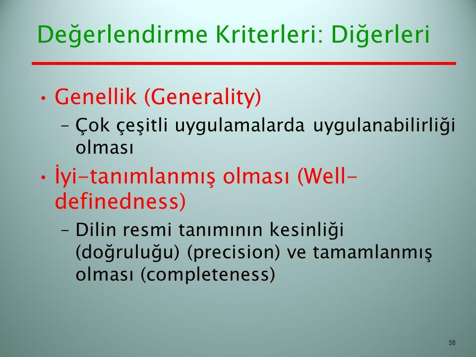 Değerlendirme Kriterleri: Diğerleri Genellik (Generality) –Çok çeşitli uygulamalarda uygulanabilirliği olması İyi-tanımlanmış olması (Well- definednes