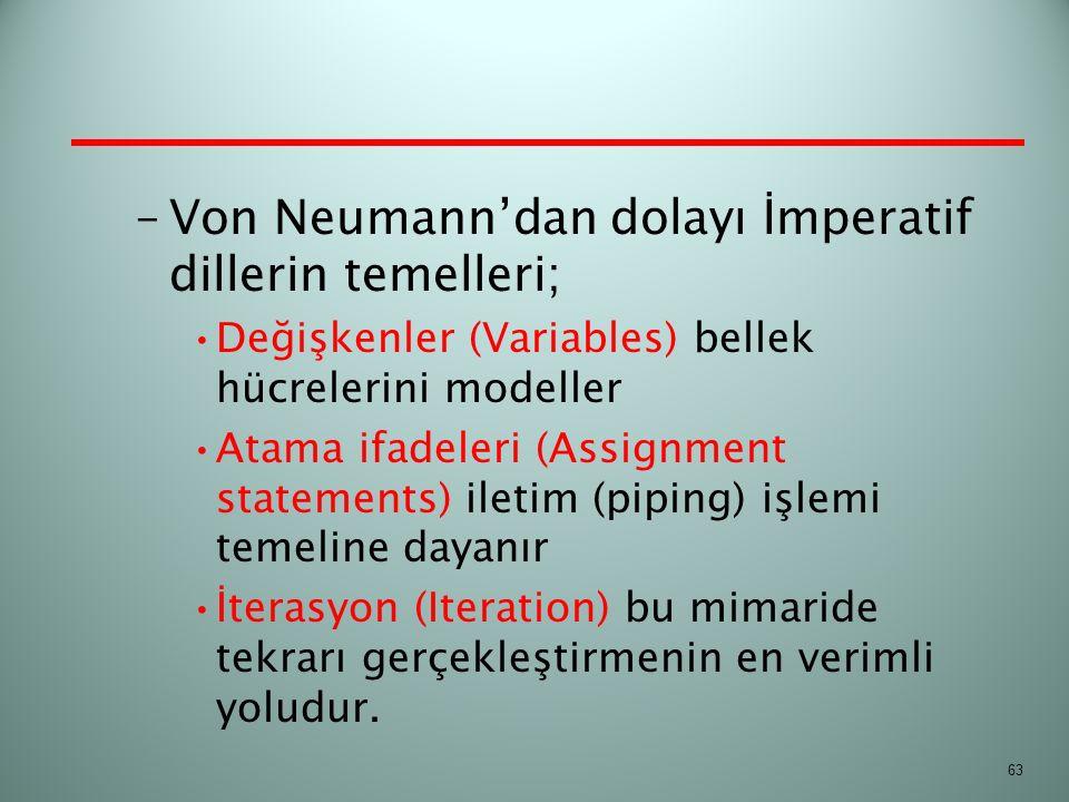 –Von Neumann'dan dolayı İmperatif dillerin temelleri; Değişkenler (Variables) bellek hücrelerini modeller Atama ifadeleri (Assignment statements) ilet