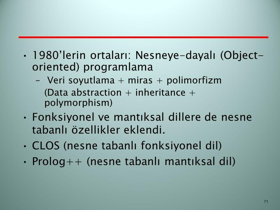 1980'lerin ortaları: Nesneye-dayalı (Object- oriented) programlama – Veri soyutlama + miras + polimorfizm (Data abstraction + inheritance + polymorphi