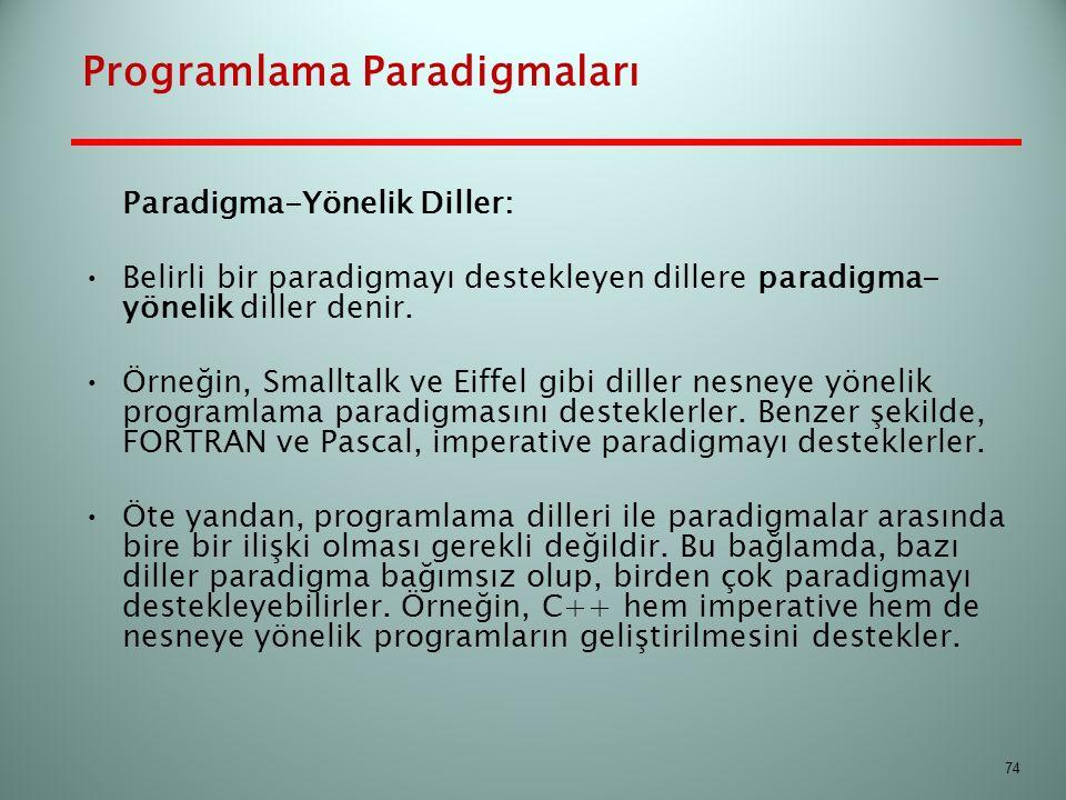 Programlama Paradigmaları Paradigma-Yönelik Diller: Belirli bir paradigmayı destekleyen dillere paradigma- yönelik diller denir. Örneğin, Smalltalk ve