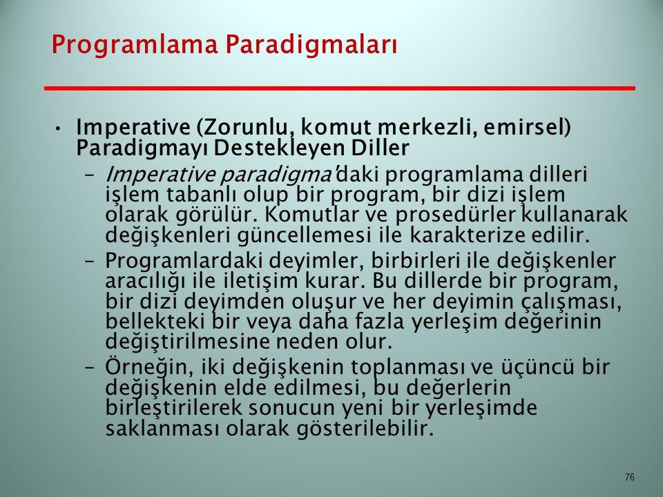 Programlama Paradigmaları Imperative (Zorunlu, komut merkezli, emirsel) Paradigmayı Destekleyen Diller –Imperative paradigma'daki programlama dilleri