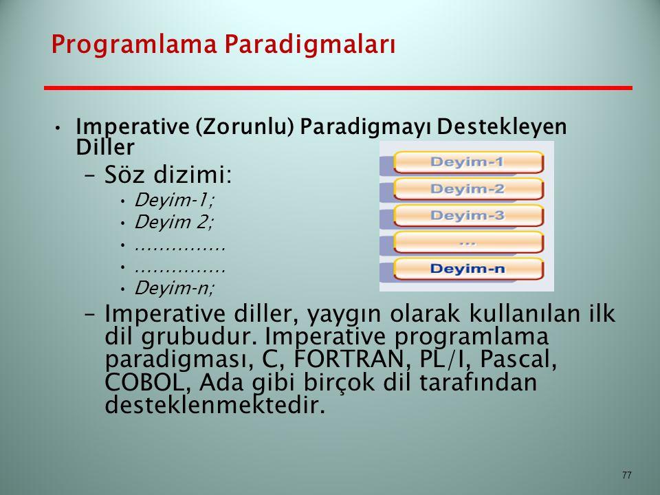 Programlama Paradigmaları Imperative (Zorunlu) Paradigmayı Destekleyen Diller –Söz dizimi: Deyim‐1; Deyim 2; …………… Deyim‐n; –Imperative diller, yaygın