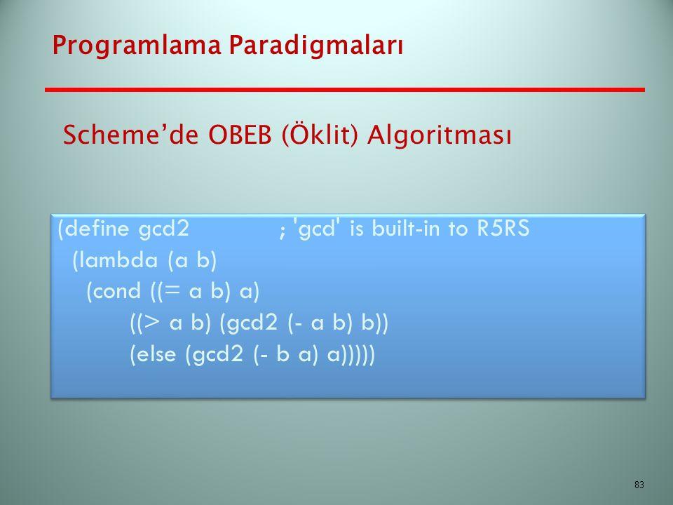 Programlama Paradigmaları (define gcd2 ; 'gcd' is built-in to R5RS (lambda (a b) (cond ((= a b) a) ((> a b) (gcd2 (- a b) b)) (else (gcd2 (- b a) a)))