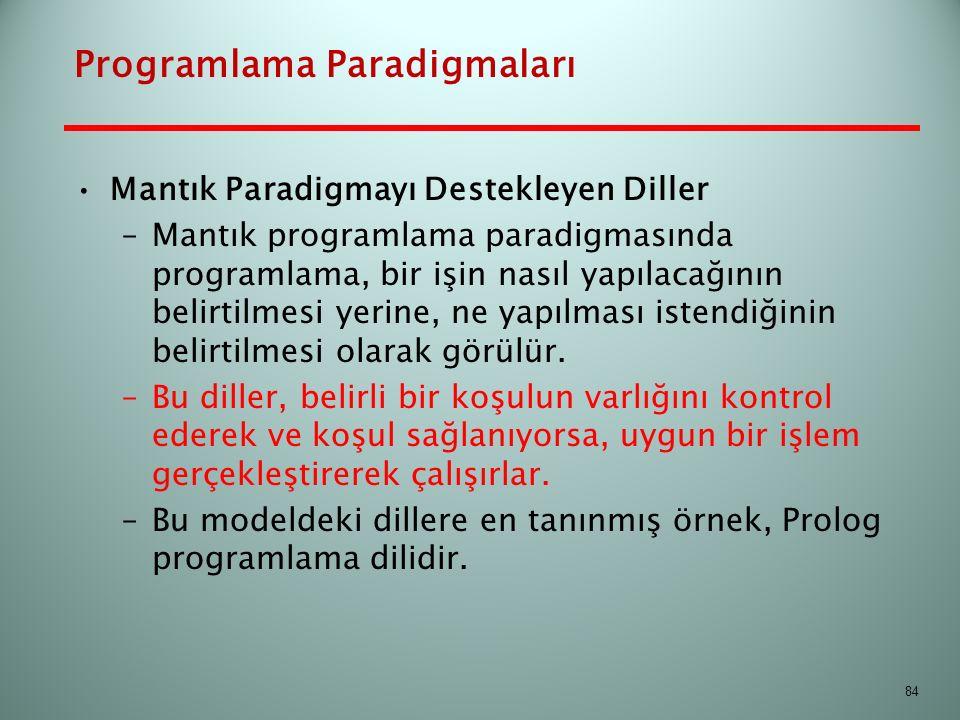 Programlama Paradigmaları Mantık Paradigmayı Destekleyen Diller –Mantık programlama paradigmasında programlama, bir işin nasıl yapılacağının belirtilm