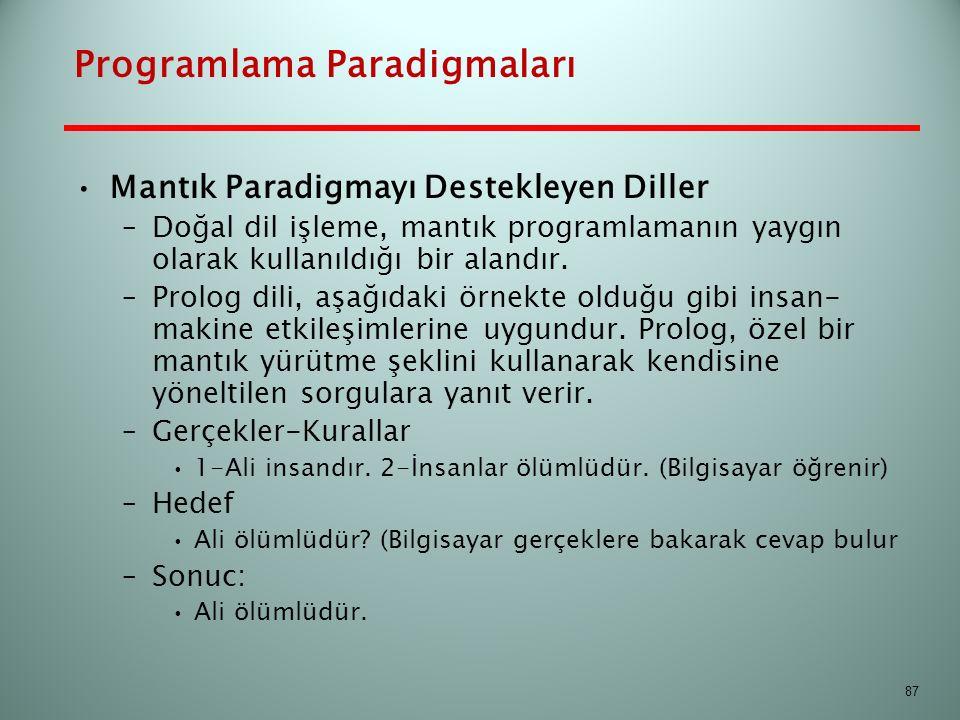Programlama Paradigmaları Mantık Paradigmayı Destekleyen Diller –Doğal dil işleme, mantık programlamanın yaygın olarak kullanıldığı bir alandır. –Prol