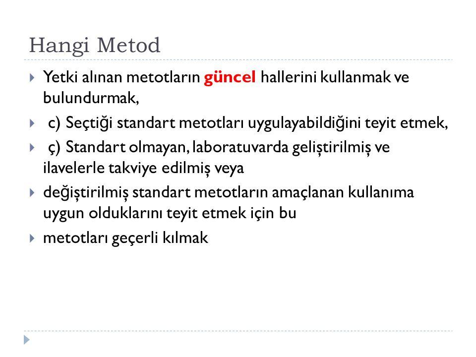 Hangi Metod  Yetki alınan metotların güncel hallerini kullanmak ve bulundurmak,  c) Seçti ğ i standart metotları uygulayabildi ğ ini teyit etmek, 