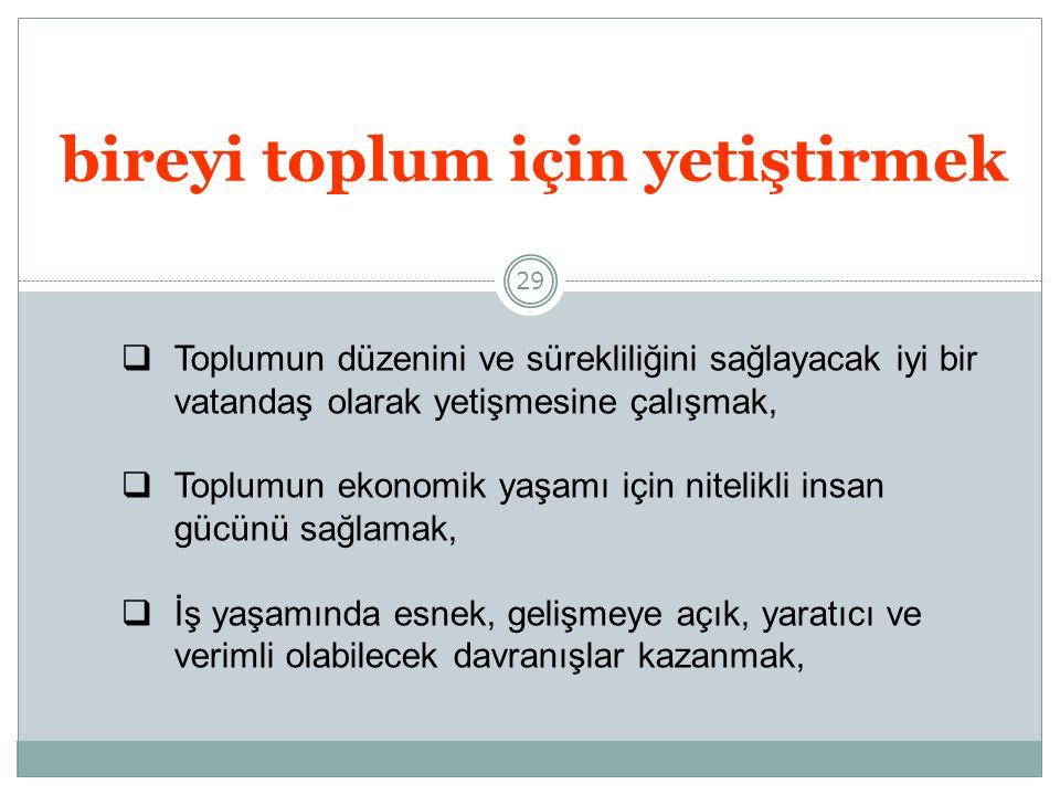 29 bireyi toplum için yetiştirmek TToplumun düzenini ve sürekliliğini sağlayacak iyi bir vatandaş olarak yetişmesine çalışmak, TToplumun ekonomik