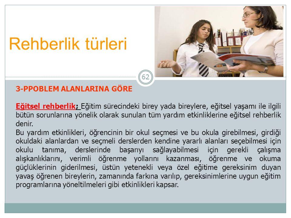 62 Rehberlik türleri 3-PPOBLEM ALANLARINA GÖRE Eğitsel rehberlik; Eğitim sürecindeki birey yada bireylere, eğitsel yaşamı ile ilgili bütün sorunlarına