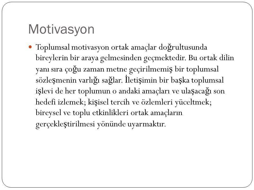 Motivasyon Toplumsal motivasyon ortak amaçlar do ğ rultusunda bireylerin bir araya gelmesinden geçmektedir. Bu ortak dilin yanı sıra ço ğ u zaman metn