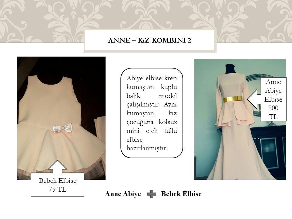 ANNE – KıZ KOMBINI 2 Abiye elbise krep kumaştan kuplu balık model çalışılmıştır. Aynı kumaştan kız çocuğuna kolsuz mini etek tüllü elbise hazırlanmışt