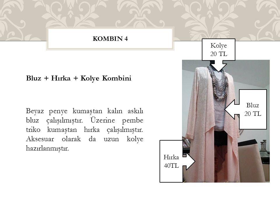 Bluz + Hırka + Kolye Kombini Beyaz penye kumaştan kalın askılı bluz çalışılmıştır. Üzerine pembe triko kumaştan hırka çalışılmıştır. Aksesuar olarak d
