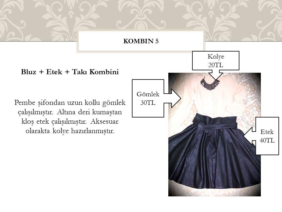 Bluz + Etek + Takı Kombini Pembe şifondan uzun kollu gömlek çalışılmıştır. Altına deri kumaştan kloş etek çalışılmıştır. Aksesuar olarakta kolye hazır