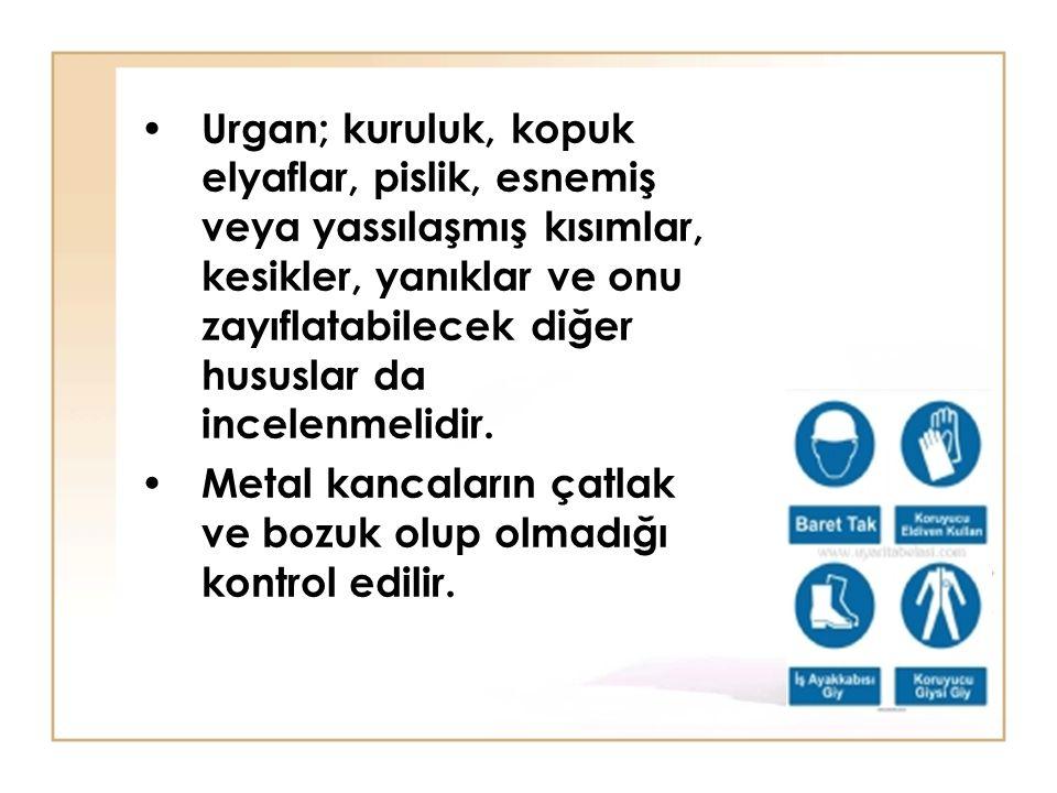 Urgan; kuruluk, kopuk elyaflar, pislik, esnemiş veya yassılaşmış kısımlar, kesikler, yanıklar ve onu zayıflatabilecek diğer hususlar da incelenmelidir