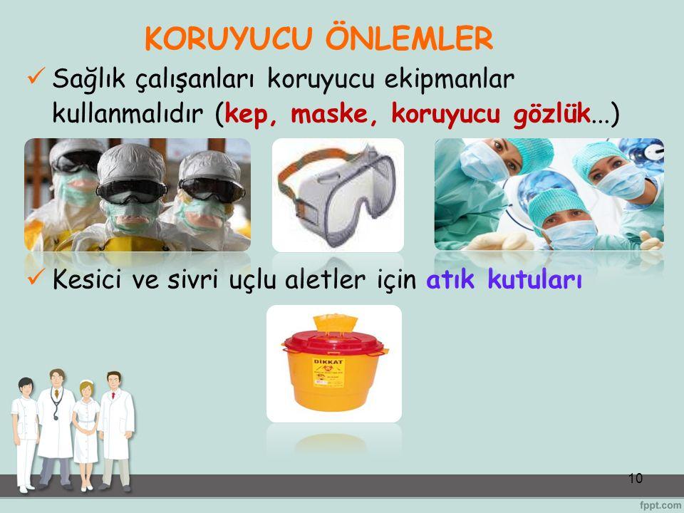 10 KORUYUCU ÖNLEMLER Sağlık çalışanları koruyucu ekipmanlar kullanmalıdır (kep, maske, koruyucu gözlük...) Kesici ve sivri uçlu aletler için atık kutu