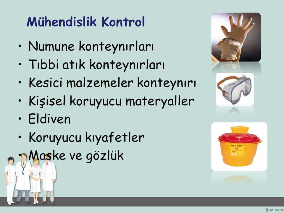 Numune konteynırları Tıbbi atık konteynırları Kesici malzemeler konteynırı Kişisel koruyucu materyaller Eldiven Koruyucu kıyafetler Maske ve gözlük Mü