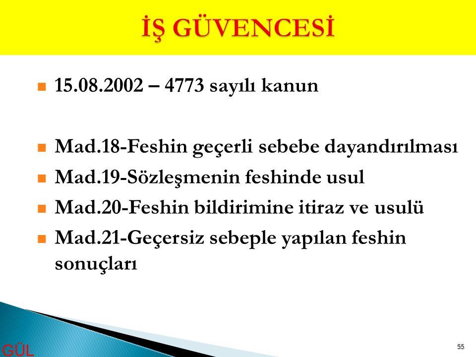 55 15.08.2002 – 4773 sayılı kanun Mad.18-Feshin geçerli sebebe dayandırılması Mad.19-Sözleşmenin feshinde usul Mad.20-Feshin bildirimine itiraz ve usu