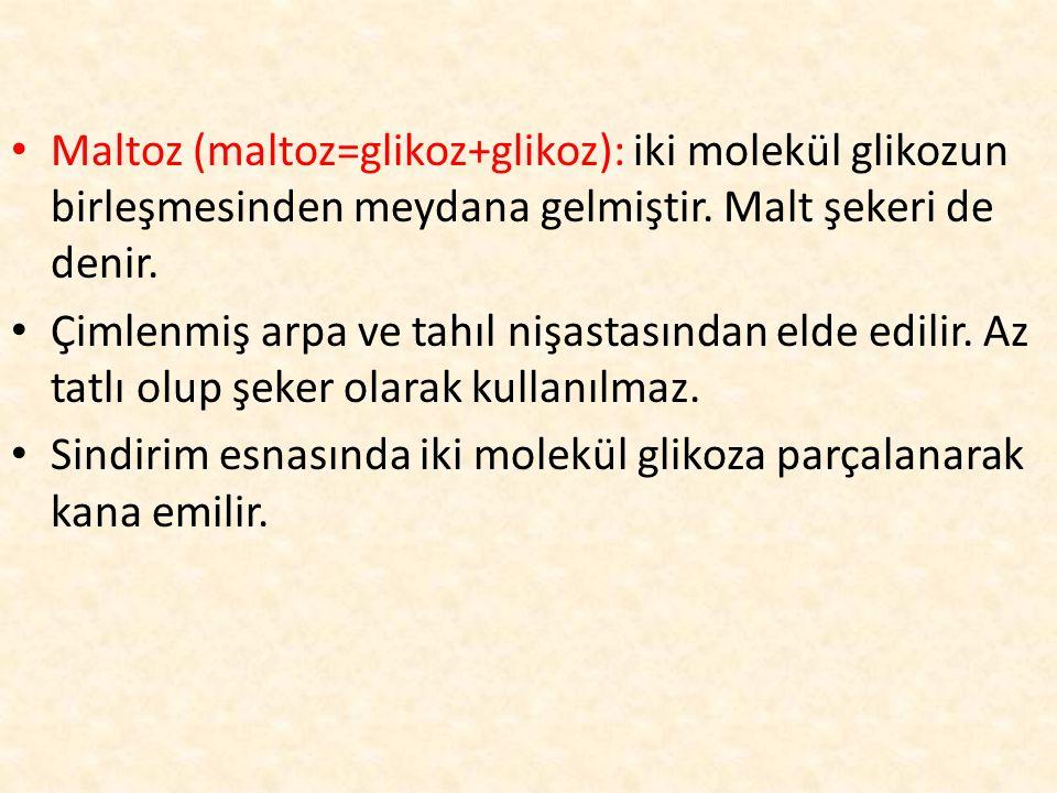 Maltoz (maltoz=glikoz+glikoz): iki molekül glikozun birleşmesinden meydana gelmiştir. Malt şekeri de denir. Çimlenmiş arpa ve tahıl nişastasından elde