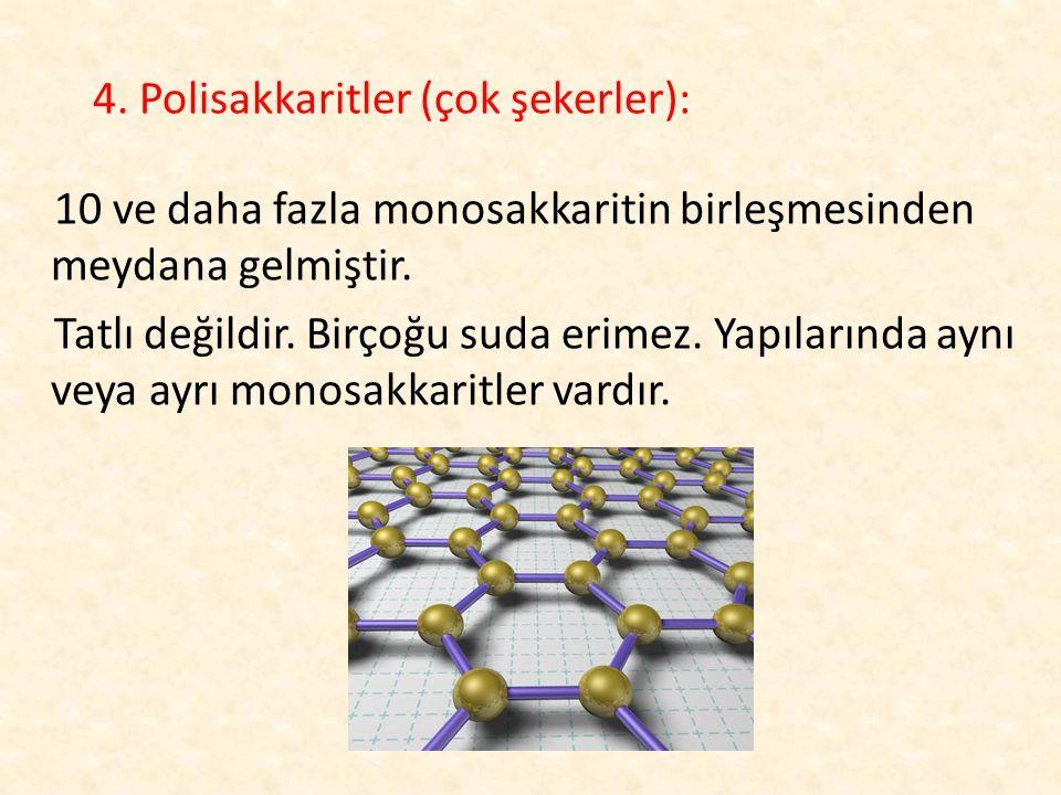 4. Polisakkaritler (çok şekerler): 10 ve daha fazla monosakkaritin birleşmesinden meydana gelmiştir. Tatlı değildir. Birçoğu suda erimez. Yapılarında