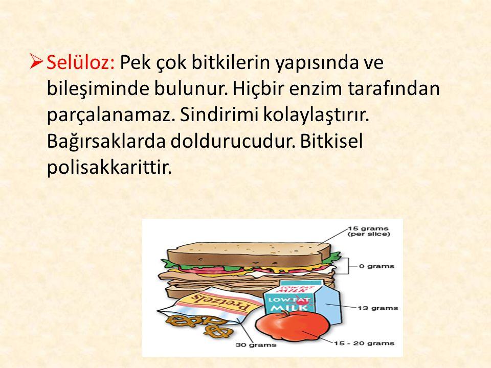  Selüloz: Pek çok bitkilerin yapısında ve bileşiminde bulunur. Hiçbir enzim tarafından parçalanamaz. Sindirimi kolaylaştırır. Bağırsaklarda doldurucu