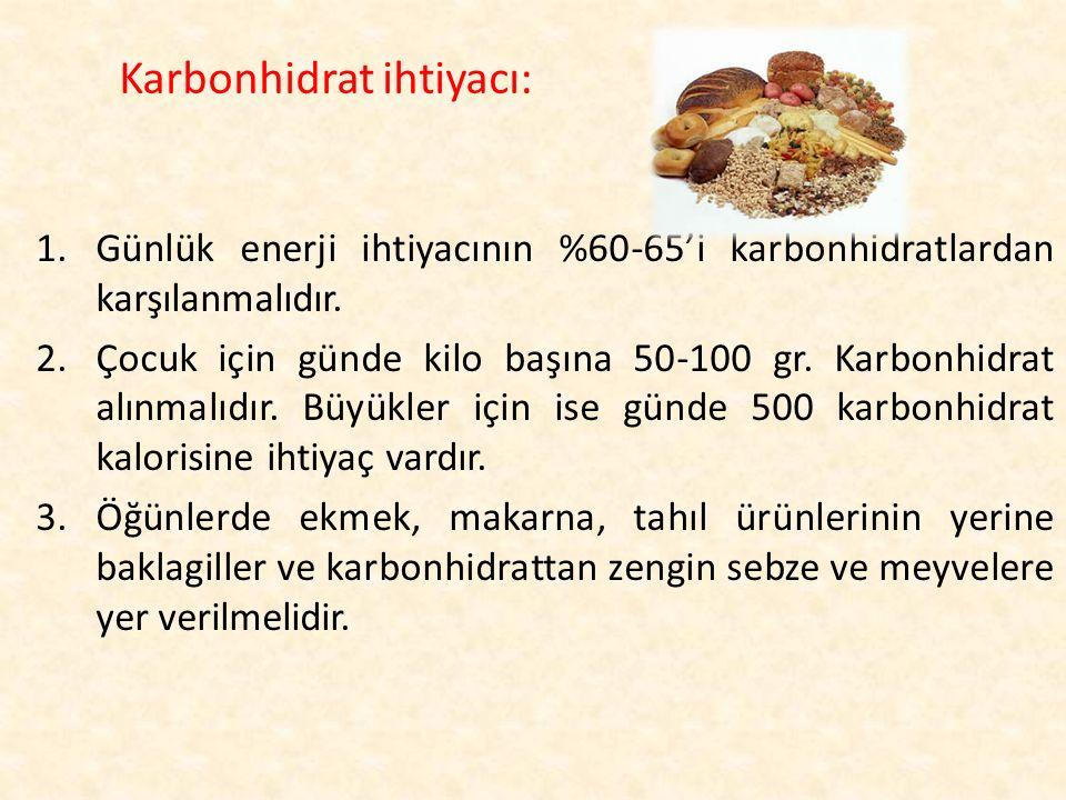 1.Günlük enerji ihtiyacının %60-65'i karbonhidratlardan karşılanmalıdır. 2.Çocuk için günde kilo başına 50-100 gr. Karbonhidrat alınmalıdır. Büyükler