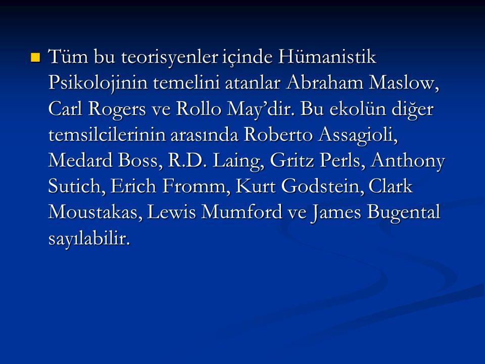 Tüm bu teorisyenler içinde Hümanistik Psikolojinin temelini atanlar Abraham Maslow, Carl Rogers ve Rollo May'dir.