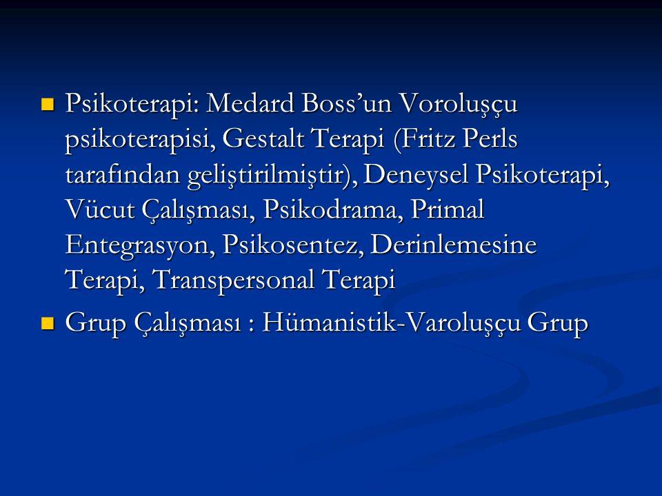 Psikoterapi: Medard Boss'un Voroluşçu psikoterapisi, Gestalt Terapi (Fritz Perls tarafından geliştirilmiştir), Deneysel Psikoterapi, Vücut Çalışması, Psikodrama, Primal Entegrasyon, Psikosentez, Derinlemesine Terapi, Transpersonal Terapi Psikoterapi: Medard Boss'un Voroluşçu psikoterapisi, Gestalt Terapi (Fritz Perls tarafından geliştirilmiştir), Deneysel Psikoterapi, Vücut Çalışması, Psikodrama, Primal Entegrasyon, Psikosentez, Derinlemesine Terapi, Transpersonal Terapi Grup Çalışması : Hümanistik-Varoluşçu Grup Grup Çalışması : Hümanistik-Varoluşçu Grup
