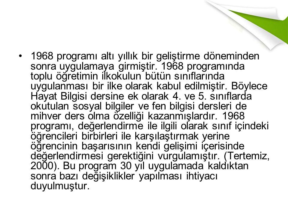 1968 programı altı yıllık bir geliştirme döneminden sonra uygulamaya girmiştir.