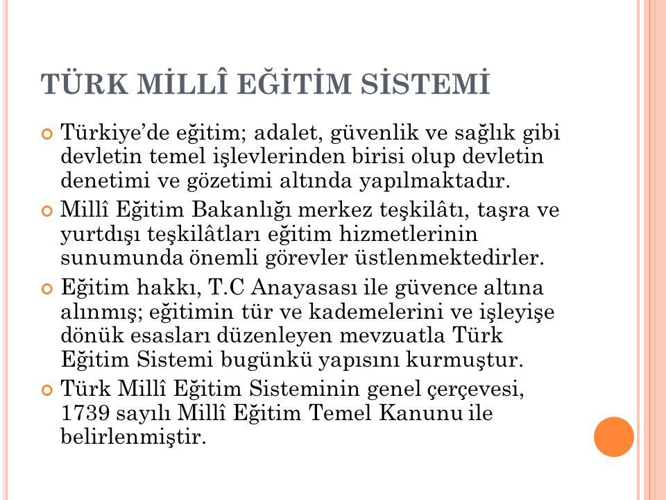 TÜRK MİLLÎ EĞİTİM SİSTEMİ Türkiye'de eğitim; adalet, güvenlik ve sağlık gibi devletin temel işlevlerinden birisi olup devletin denetimi ve gözetimi altında yapılmaktadır.