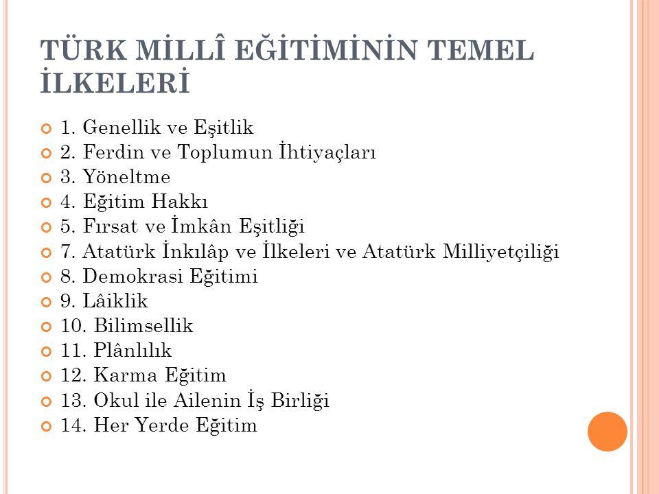 TÜRK MİLLÎ EĞİTİMİNİN TEMEL İLKELERİ 1.Genellik ve Eşitlik 2.