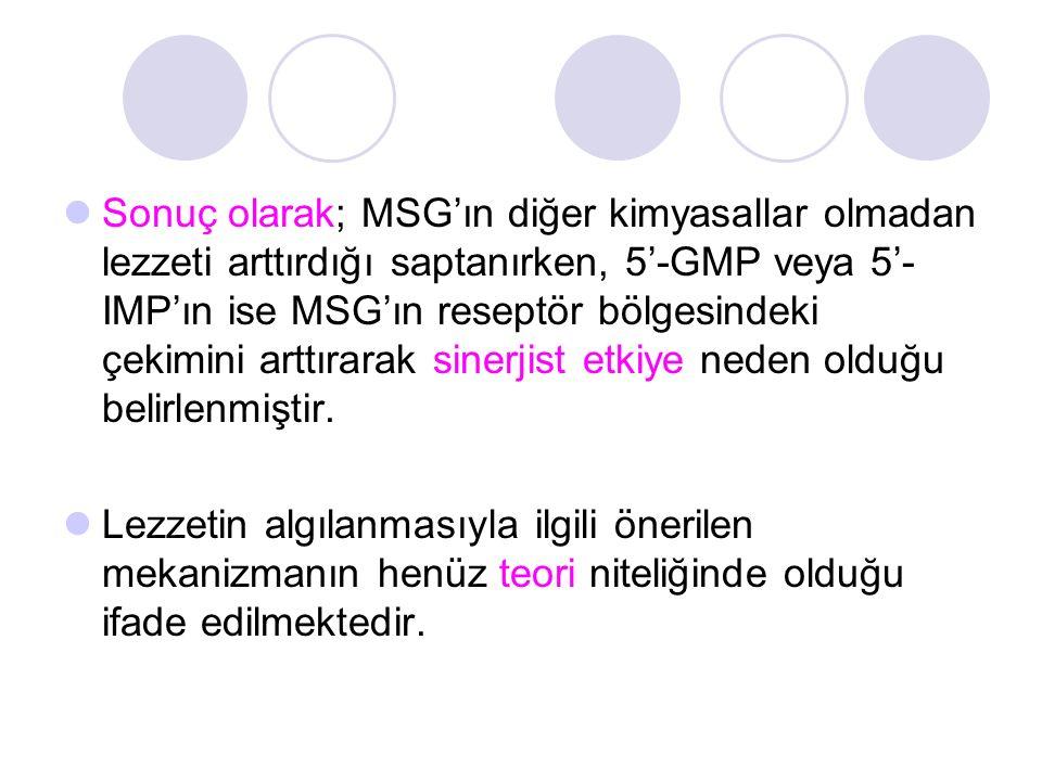Sonuç olarak; MSG'ın diğer kimyasallar olmadan lezzeti arttırdığı saptanırken, 5'-GMP veya 5'- IMP'ın ise MSG'ın reseptör bölgesindeki çekimini arttır