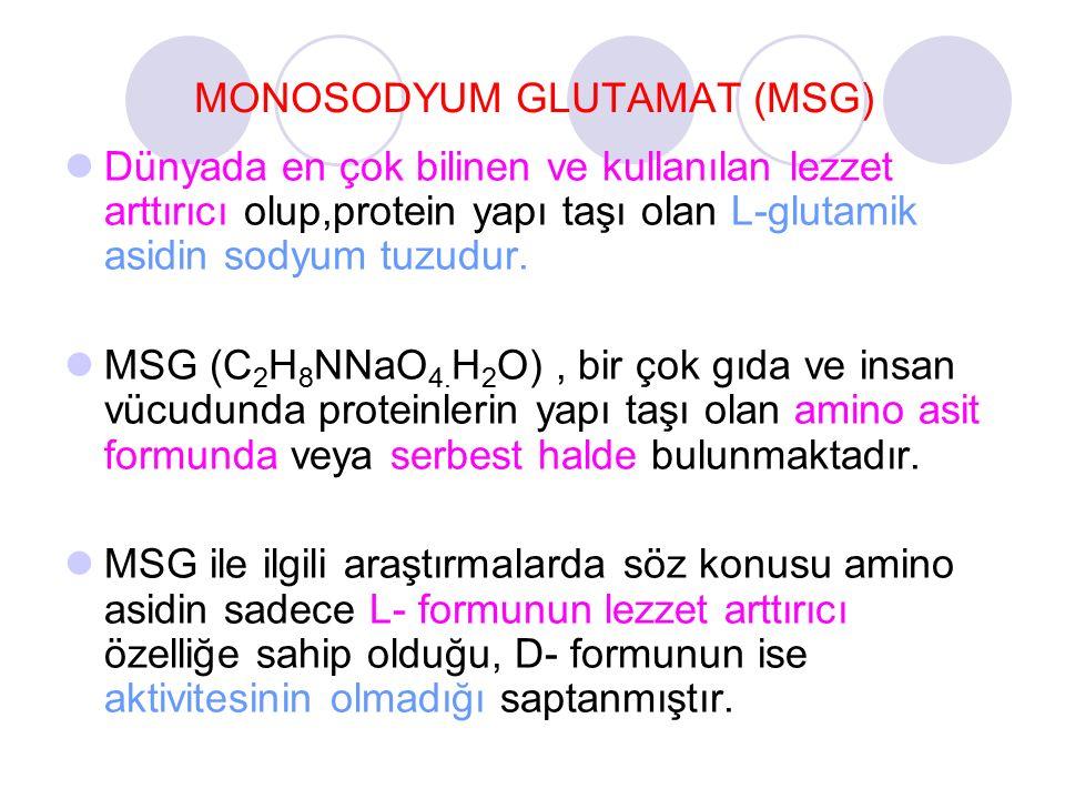 MONOSODYUM GLUTAMAT (MSG) Dünyada en çok bilinen ve kullanılan lezzet arttırıcı olup,protein yapı taşı olan L-glutamik asidin sodyum tuzudur. MSG (C 2