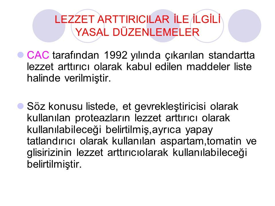 LEZZET ARTTIRICILAR İLE İLGİLİ YASAL DÜZENLEMELER CAC tarafından 1992 yılında çıkarılan standartta lezzet arttırıcı olarak kabul edilen maddeler liste