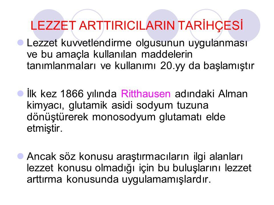 LEZZET ARTTIRICILARIN TARİHÇESİ Lezzet kuvvetlendirme olgusunun uygulanması ve bu amaçla kullanılan maddelerin tanımlanmaları ve kullanımı 20.yy da ba
