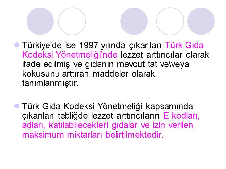 Türkiye'de ise 1997 yılında çıkarılan Türk Gıda Kodeksi Yönetmeliği'nde lezzet arttırıcılar olarak ifade edilmiş ve gıdanın mevcut tat ve\veya kokusun