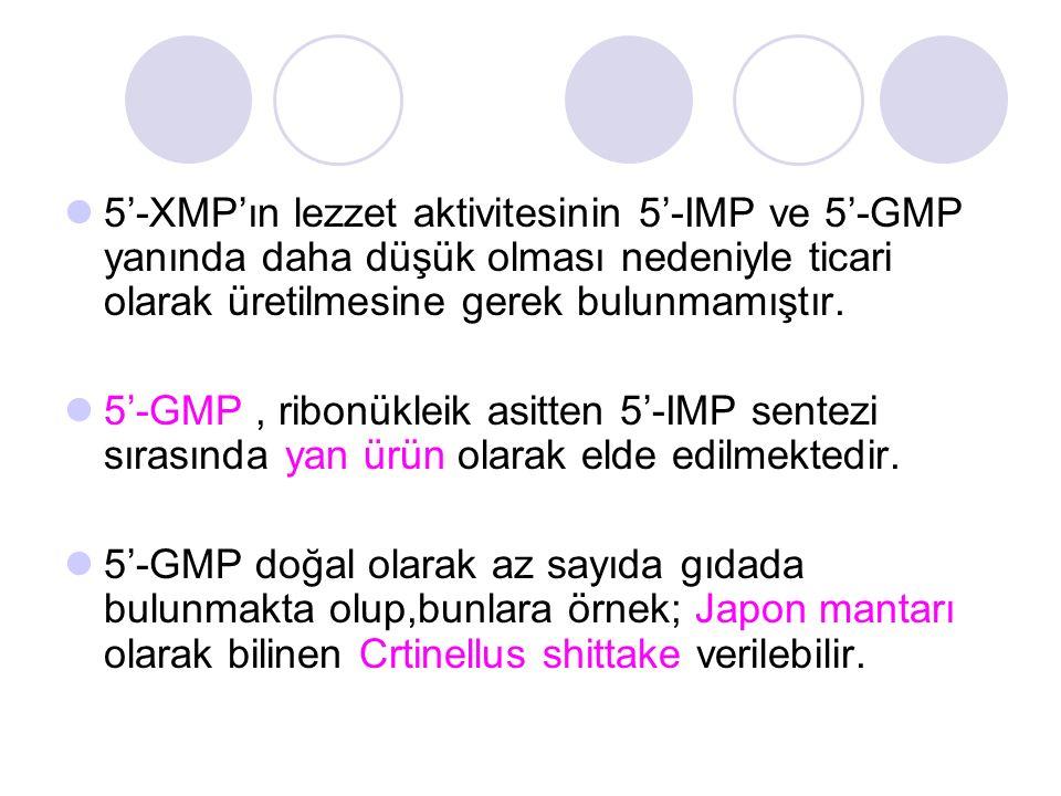 5'-XMP'ın lezzet aktivitesinin 5'-IMP ve 5'-GMP yanında daha düşük olması nedeniyle ticari olarak üretilmesine gerek bulunmamıştır. 5'-GMP, ribonüklei
