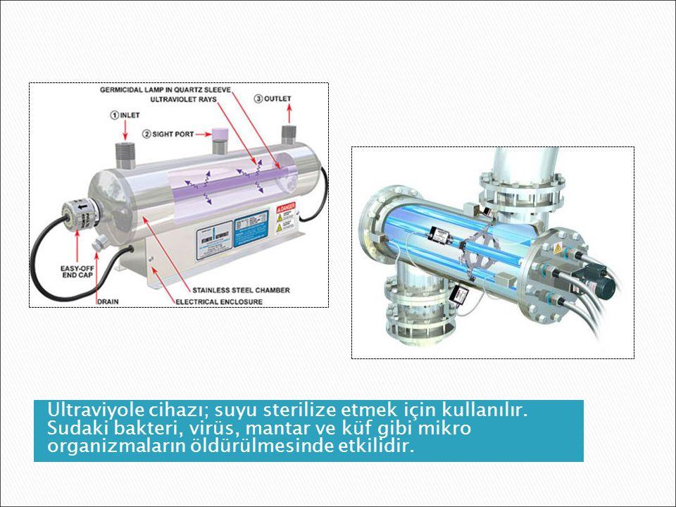 Ultraviyole cihazı; suyu sterilize etmek için kullanılır.