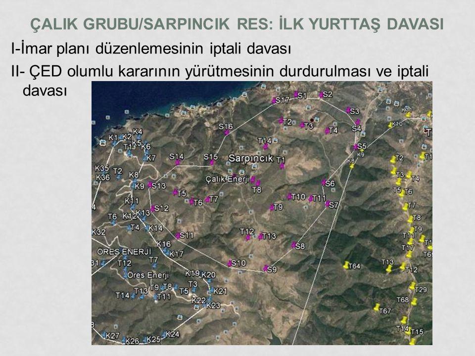 ÇALIK GRUBU/SARPINCIK RES: İLK YURTTAŞ DAVASI I-İmar planı düzenlemesinin iptali davası II- ÇED olumlu kararının yürütmesinin durdurulması ve iptali d