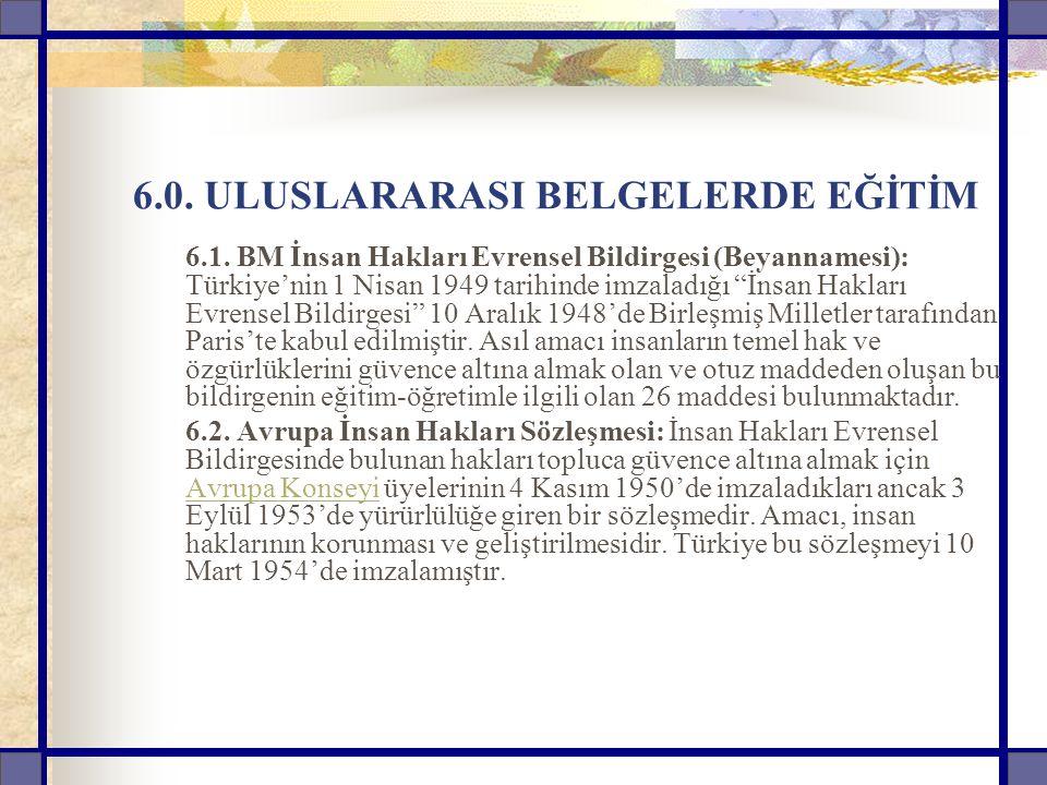 """6.0. ULUSLARARASI BELGELERDE EĞİTİM 6.1. BM İnsan Hakları Evrensel Bildirgesi (Beyannamesi): Türkiye'nin 1 Nisan 1949 tarihinde imzaladığı """"İnsan Hakl"""