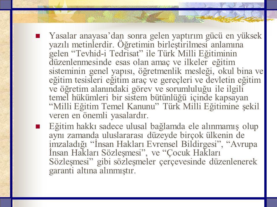 """Yasalar anayasa'dan sonra gelen yaptırım gücü en yüksek yazılı metinlerdir. Öğretimin birleştirilmesi anlamına gelen """"Tevhid-i Tedrisat"""" ile Türk Mill"""