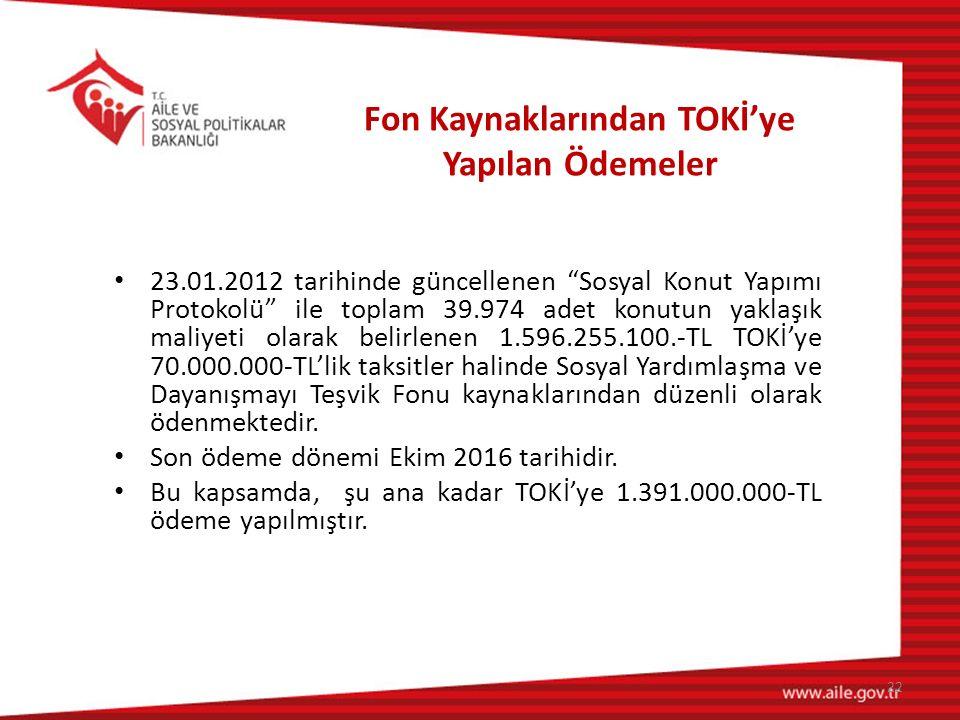"""Fon Kaynaklarından TOKİ'ye Yapılan Ödemeler 23.01.2012 tarihinde güncellenen """"Sosyal Konut Yapımı Protokolü"""" ile toplam 39.974 adet konutun yaklaşık m"""